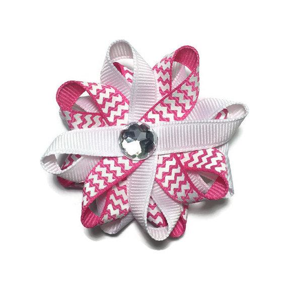 Pink Chevron Stripes Hair Bows