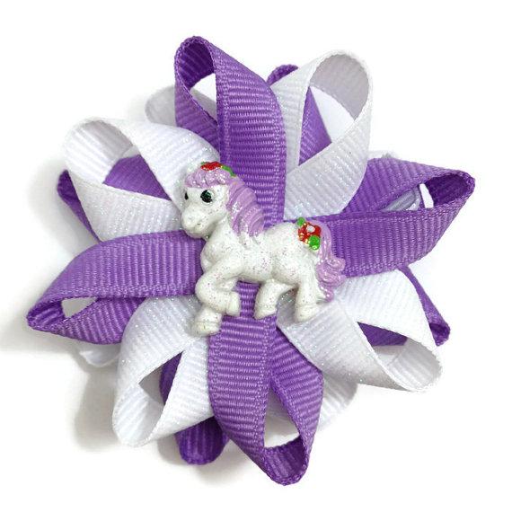 Purple Glitter Horse Hair Bows
