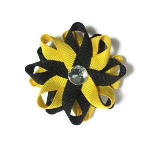 Yellow Black handmade Hair Bows
