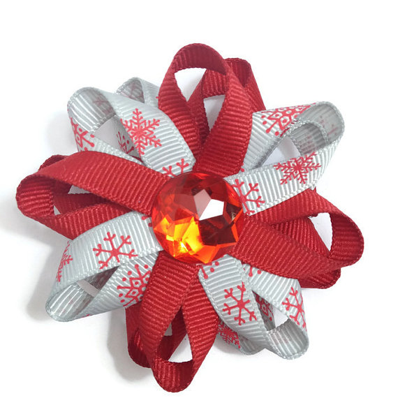 Red Snowflake handmade Hair Bows