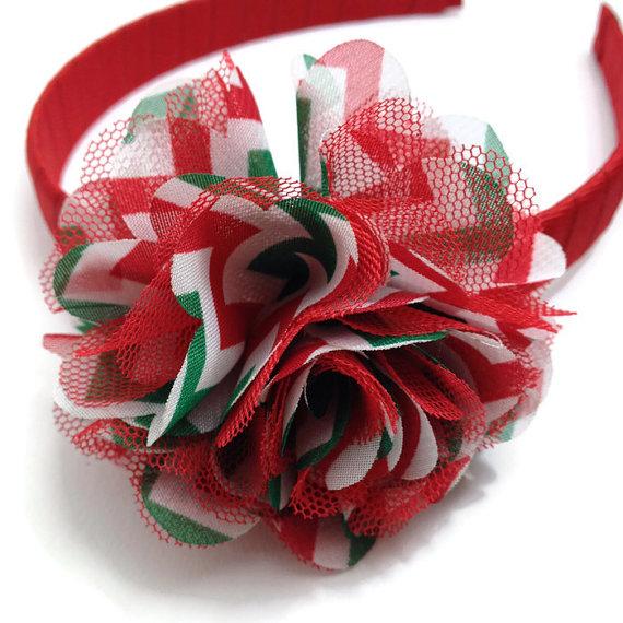Christmas Chevron Stripe Flower Headband