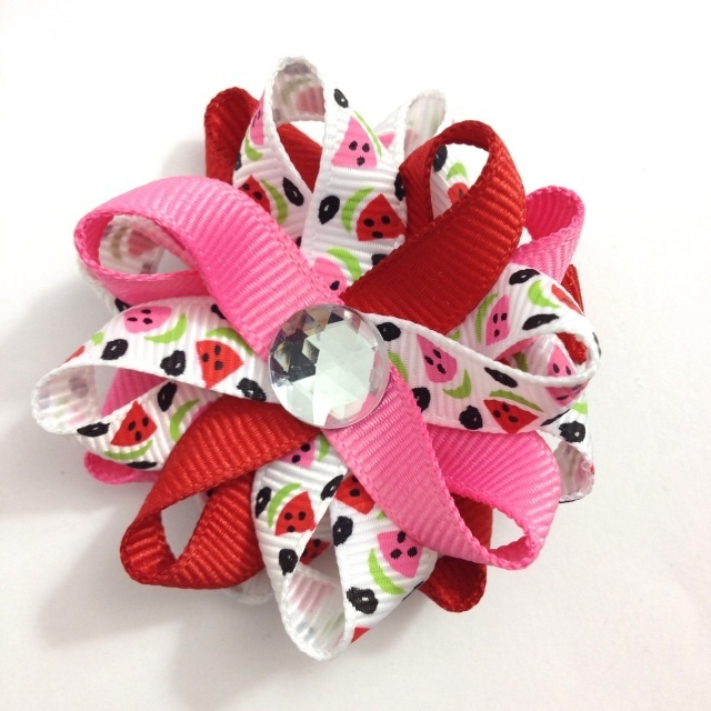 Red Pink Watermelon Hair Bows