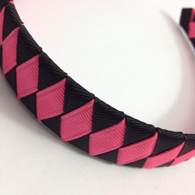 Bright Pink, Black Braided Headband