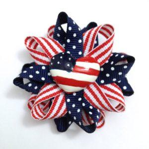 American Flag heart hair bows