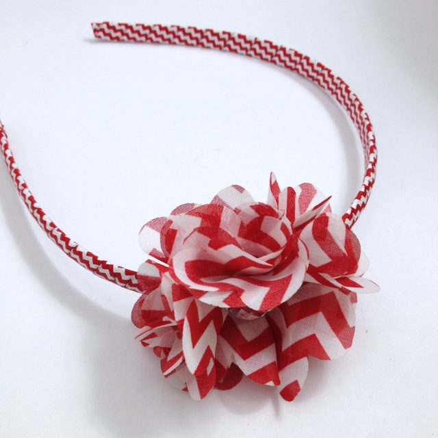 Red Chevron Stripe Flower Headband