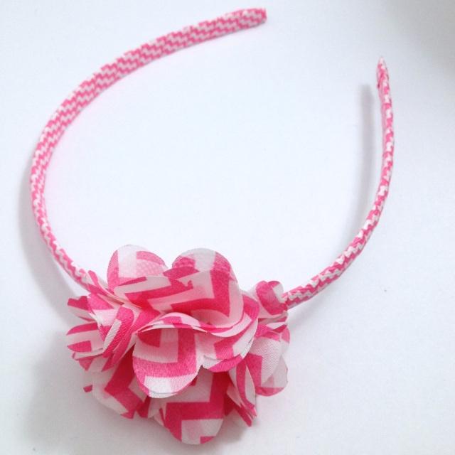 Hot Pink Chevron Stripe Flower Headband