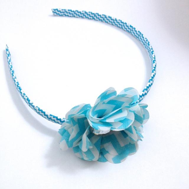 Light Blue Chevron Stripe Flower Headband