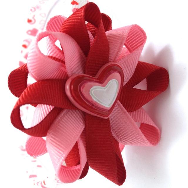 Valentines Day hearts hair bow headband