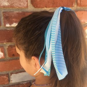 Turquoise Stripe Ponytail Streamer